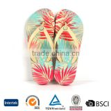 2016 ODM design flowers digital printing pattern women flat sandals beach shoes slippers