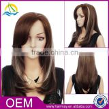 Cheap price front lace brown/white mix color long Synthetic wig synthetic ombre hair wig with bangs