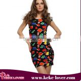2015 New Style Summer Women dress Casual Floral Print Sleeveless Dresses Retro floral print Bohemian Beach Dresses