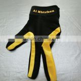 Superior wholesale three finger left hand glove for snooker billiard average size