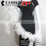 Top Supplier CHINAZP Beautiful 80 Gram Weight in Stock Natural Bleached White Turkey Chandelle Feathers Boas