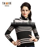 Fashion Cashmere Striped Women Pullover Sweater, Women High Neck Black-White Striped Sweater
