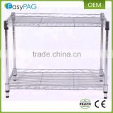 2 Tier knocked down kitchen organizer rack metal shelving wire shelf rack