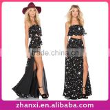 Stars printed chiffon 2PC girls long frock suits slit tall tube sex women sexy maxi party dress