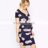Maternity Clothing Manufacturer Wholesale Dark Floral Printed Maternity Clothes Wholesale Midi Maternity Clothes