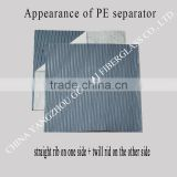 PE battery separator with straight rib on one side and twill rib on the other side