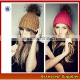 OEM High quality winter knit hat with ball on top women and man fahion beanie knitted hat with pompoms for wholesale