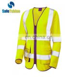 Hot selling high quality new design long sleeve fluorescent work vest for woman