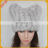 Factory Wholesale Knitted Winter Grey Rabbit Fur Hat