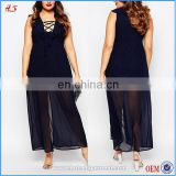 New arrival fast cheap samples plus size women clothing plunge black long dress chiffon maxi dresses with lace up front