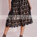 Sexy Empty Embroidered Crochet Lace Girl Skirts Mid-Calf Women's Skirt full black lace mid skirt nude