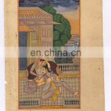 Indian Mughal King Queen Harem Paper Painting Water Color Handmade Wall Decor