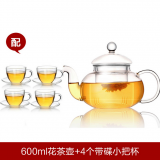 Electric induction heat resistant glass tea pot set with filter in lid