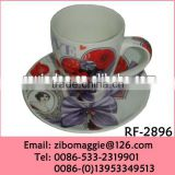Professional Zibo Made 2016 Popular Valentine's Print Promotion Porcelain Wholesale Coffee Cups and Saucers Made in Zibo