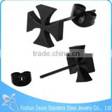 ZS20358 Stainless steel thin black metal maltese cross stud earrings for men