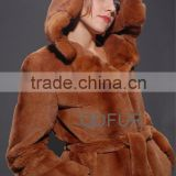 QD27713 Rex Rabbit Fur Coat Factory Direct Sale Overcoat Genuine Rex Rabbit Fur Coats With Mink Fur Hood