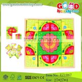 OEM Wholesale Educational Printing Puzzle Flower Blocks Wooden Puzzle Blocks