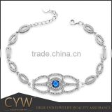 CYW fashion s925 sterling silver bule zircon micro setting bracelet with rhodium plating