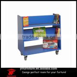 mobile small size storage rack kindergarten kids book shelf