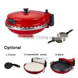 Red 1200W Adjustable 30 minutes timer with alarm function Electric Oven Stone Pizza Maker