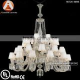 36 Light Baccarat Style Church Chandelier with White Lampshade