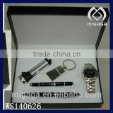 latest design jewelry gift box for men with stainless steel watch pen torch key ring gift box