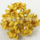 Yellow, Small Handmade Mulberry Paper Flower, Wedding Party, Scrap-booking Crafts, Wholesale