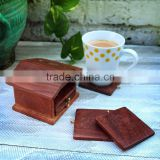 Hand Carved Drink Caosters Rosewood Bar Tea Coffee Coaster Set Of 6 with House Shaped Holder