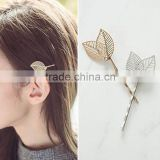 Fashion Korea 2 Colors Elegant and charming Hollow Leaf Barrettes Hairpin for Women &Girls Hair Accessories