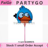 Hot sales 2014.5cm cartoon birds balloon with stick and cup for childs toys Aluminium foil balloon party decoration