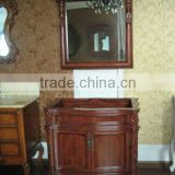 Grey wood Marble Antique single sink wooden mirror and vanity top with Baltic Brown/Classic solid wood bathroom cabinet
