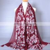 Big floral pattern design scarf women viscose tassels scarf fashion muslim hijab beach long shawls Pashmina/scarves