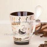 Hot Sell 11oz Inner Brown Glazed and Fullyed Decaled Stoneware Espresso and Cappuccino Spoon Mug