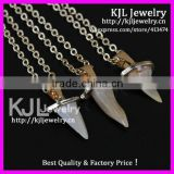 GZKJL-CT0341 Hot crazy sale Natural druzy gem stone shark teeth tooth pendant in 24k chain