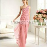 2013 One shoulder beaded ruched pink chiffon custom-made evening dress CWFac4580