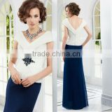 2014 V-neckline ruched floor length customize cap sleeve champagne cheap white blue mother of the bride dresses CWFam5786