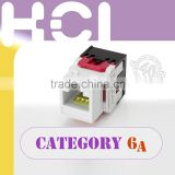 Network Solution ISO IEC TIA Cat6A / Super Cat6 RJ45 8P8C UTP Unshielded 180Degree Keystone Jack