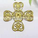 religious jewelry finding brass flower cross jewelry accessories hollow out metal cross garment accessories