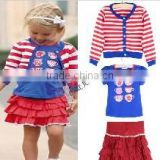 New 2014 Children Clothing Set baby girl fashion three-piece suit set kids striped coat +T-shirt + tutu dress 20149