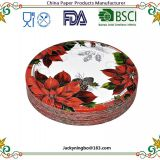 Christmas Party Holiday Disposable Dinnerware Tableware Color Printed Paper Plate with PE Coated Pack Made in China