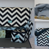 waterproof shoulder cooler bag in navy chevron print