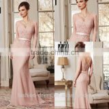Luxury Nude Pink Long Sleeve Beaded Evening Dresses 2014