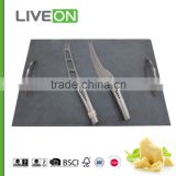 2015 hot sale cheese knives slate board set