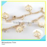 Fancy 888 Crystal Gold Chain mix Pearl Embellishment For Dresses