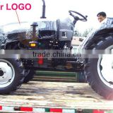 mini 4 wheel tractor with front loader 4in1 bucket and backhoe,4cylinders,8F+2R shift,with Cabin,heater,fan,fork,blade