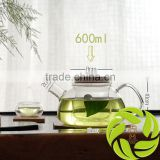 Top quality 600ml bamboo lid teapot Chinese borosilicate heat resistant teapot glass teapot