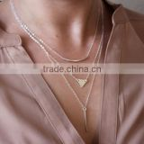 European and American trade jewelry fashion street shoot bends metal bars combination necklace sequined triangle C1463