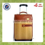 2016 Oil Leather Travel Compass Luggage Trolley Bag
