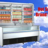 combined freezer showcase upright freezer commercial Supermarket beverage and milk display Double temperature refrigerator