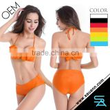 2016 Hot Sale Nylon Spandex Brazilian Sheer Crop Flouncing Top Bikini